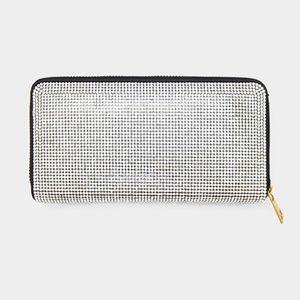 Black & Clear Glam Rhinestone Zipper Wallet Clutch